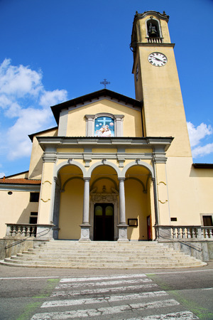 zebra crossing: zebra crossing church albizzate varese italy the old wall terrace  bell tower Stock Photo