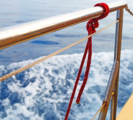 black moor: rope    and metal in the blue skay aocean mediterranean sea