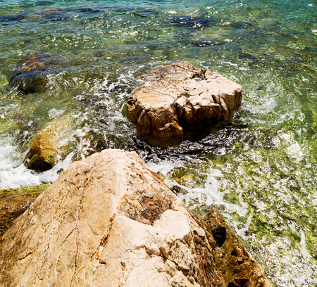 rocks water: in thurkey antalya lycia way water rocks and sky near the nature