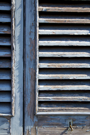 venetian blind: grey window   castellanza   palaces italy   abstract  sunny day    wood venetian blind in the concrete  brick Stock Photo