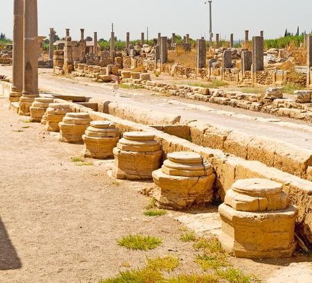 templo romano: stone     in  perge construction asia turkey and  roman temple Foto de archivo