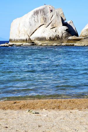 asia  kho tao coastline bay isle   big  rocks  froth foam  in thailand and south china sea
