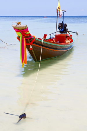 thailand  in  kho tao bay asia isle blue clean water    pirogue   and south china sea Stock Photo
