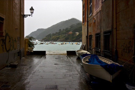 the panaoramas  in village of portofino  in the north of italy liguria and street lamp Stock Photo