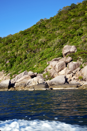 asia  kho tao coastline bay isle     rocks  froth foam  in thailand and south china sea