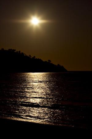 gold  sunset   lagoon and coastline in madagascar nosy be Stock Photo