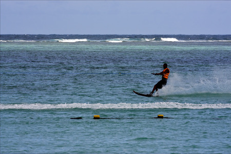 water skiing: mauritius belle mare water skiing in the indian ocean Stock Photo