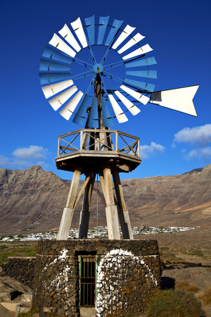 lanzarote: africa windmills and the sky in  isle of lanzarote spain