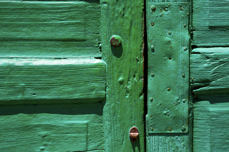 grudge: lanzarote abstract door wood in the green Stock Photo