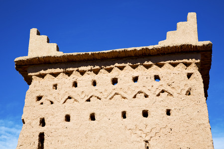 casbah: brown old  construction in  africa morocco and  clouds  near the tower Stock Photo