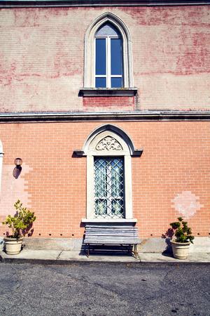vase plaster: venegono varese italy abstract  window      wood venetian blind in the concrete  grey bench