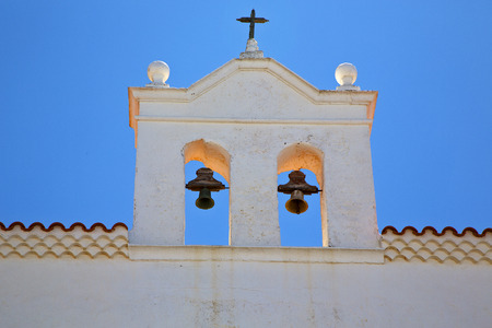 church bell: the old terrace church bell tower in teguise arrecife lanzarote spain