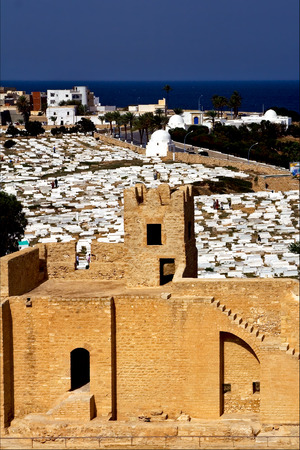 gravel pit: panoramas monastir tunisia the old wall castle    slot  and cemetery