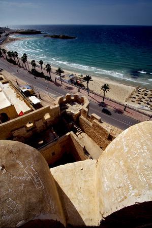 panoramas: panoramas monastir tunisia the old wall castle    slot  and mediterranean sea