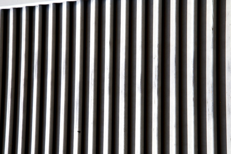 venetian blind: window  varese palaces italy   abstract  sunny day    wood venetian blind in the concrete  brick besnate Stock Photo