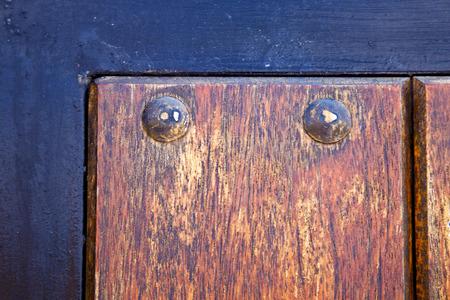 lanzarote: spain knocker lanzarote abstract door wood in the black brown Stock Photo