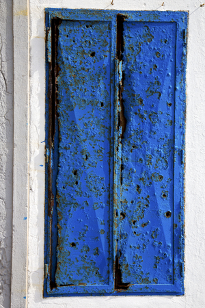 grudge: lanzarote abstract  blue window   in the white spain