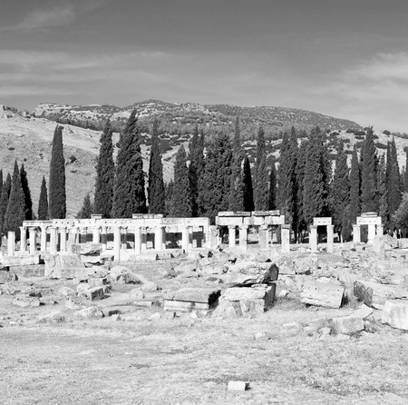 templo romano: pamukkale    old construction in asia turkey the column  and the roman temple