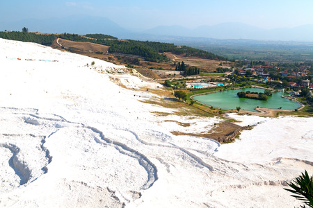 travertine: unique abstract in pamukkale turkey  asia the old calcium bath and travertine water Stock Photo