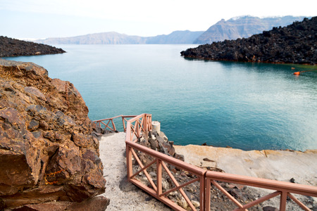 caldera: in    europe    vacation      cyclades santorini old town white and the sky Stock Photo