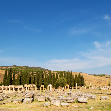 Roman temple: pamukkale    old construction in asia turkey the column  and the roman temple