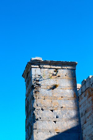 past civilizations: in europe athens acropolis and sky old towert and marble brick