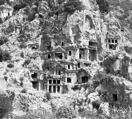 social history: myra      in turkey europe old roman necropolis and indigenous tomb stone