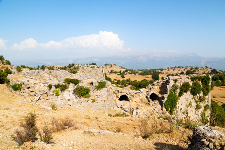 broken hill: the    hill in asia turkey selge old architecture ruins and nature