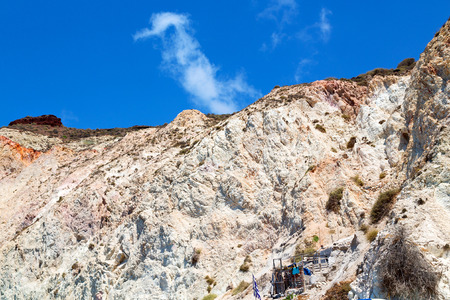 santorini    europe greece and dry bush rock alone in the sky Stock Photo