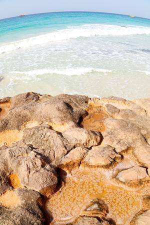 relax near sky in oman coastline sea ocean  gulf rock and beach  salt