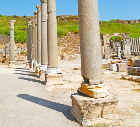 column    temple and theatre in ephesus   antalya turkey asia sky  the ruins Stock Photo