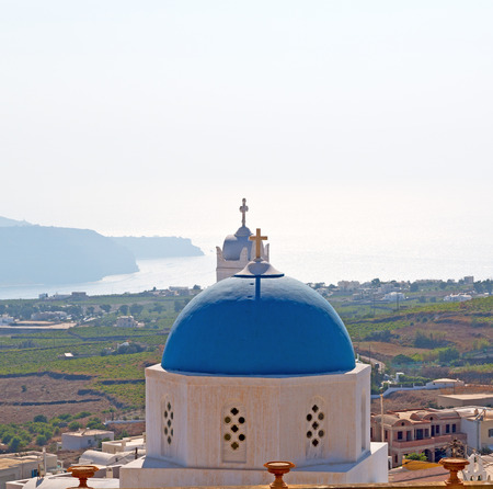 in    europe    vacation      cyclades santorini old town white and the sky Stock Photo