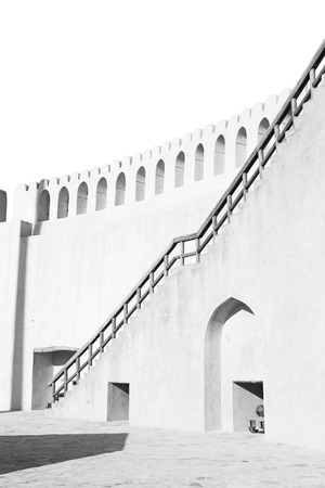 black shadow: fort battlesment sky and    star brick in oman   muscat the old defensive Editorial