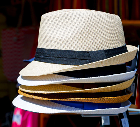 stetson: white  old panama hat in the background Stock Photo