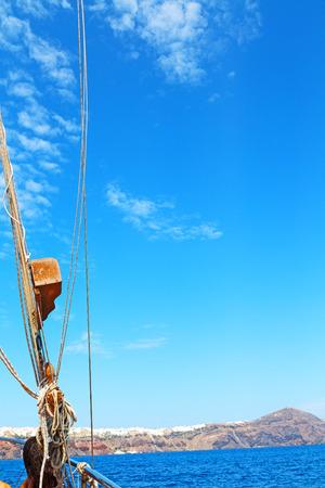 black moor: rope    and metal  in the blue say ocean mediterranean sea