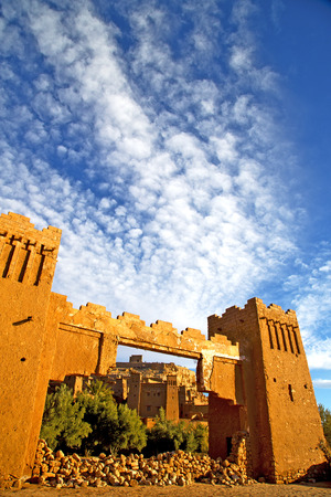 blue cloudy sky: africa  in histoycal maroc  old construction  and the blue cloudy  sky
