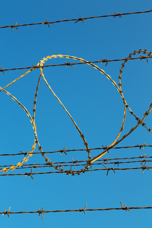 barbwire: and cloudy sky in oman barbwire in the background Stock Photo