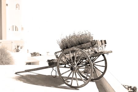 handcart: handcart   in    europe    vacation      cyclades santorini old town white and the sky Stock Photo