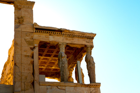 past civilization: in europe athens acropolis and sky old towert and marble brick