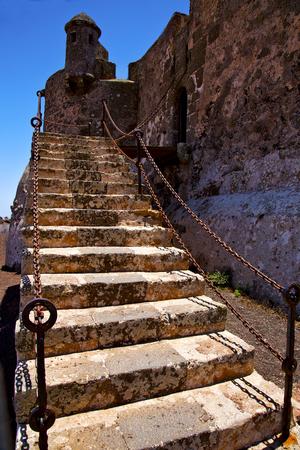 drawbridge: step arrecife  drawbridge  lanzarote  spain the old wall castle  sentry tower and door  in teguise