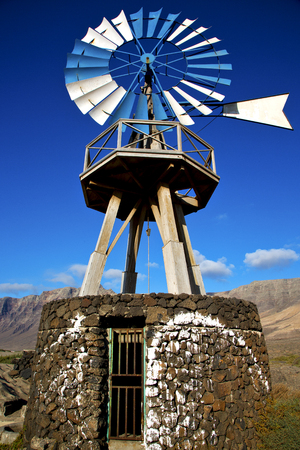 lanzarote: in  isle of lanzarote  spain africa windmills and the sky