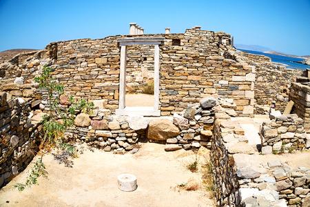 old  ruin: in delos         greece the historycal acropolis and         old ruin site Stock Photo