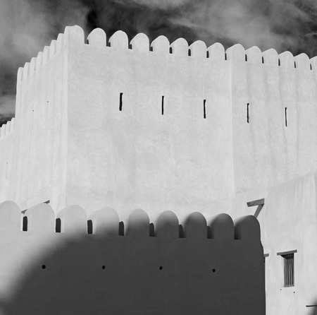 black shadow: fort battlesment sky and    star brick in oman   muscat the old defensive Stock Photo