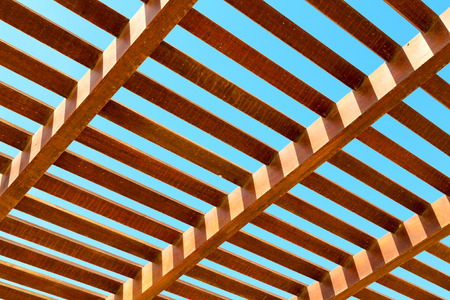 oman background: in oman the wooden abstract roof near sky background Stock Photo