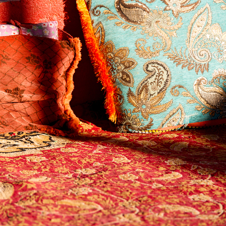 oman: in oman old carpet and pillow like table to rest Stock Photo