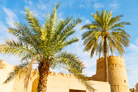 fuerte battlesment cielo y estrella ladrillo en Omán muscat el viejo defensivo