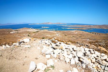 in delos         greece the historycal acropolis and         old ruin site Stock Photo