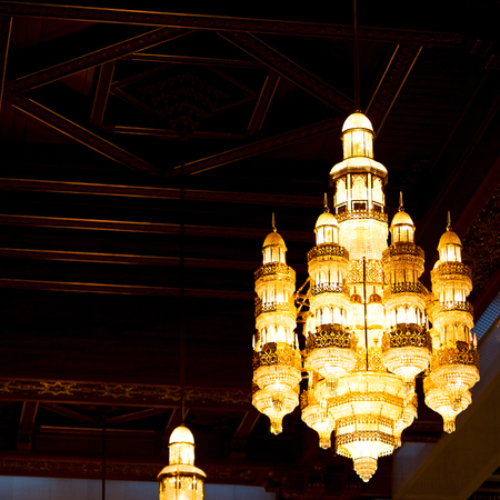 muscat: glass  chandelier in oman muscat old mosque and the antique