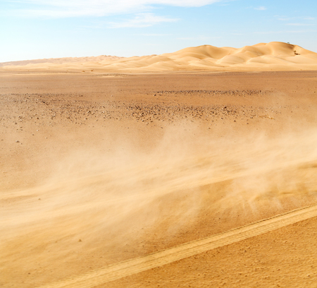 the empty quarter and outdoor  sand dune in oman old desert rub al khali  dust storm