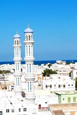 minaret and religion in clear sky in oman muscat the old mosque Stock Photo